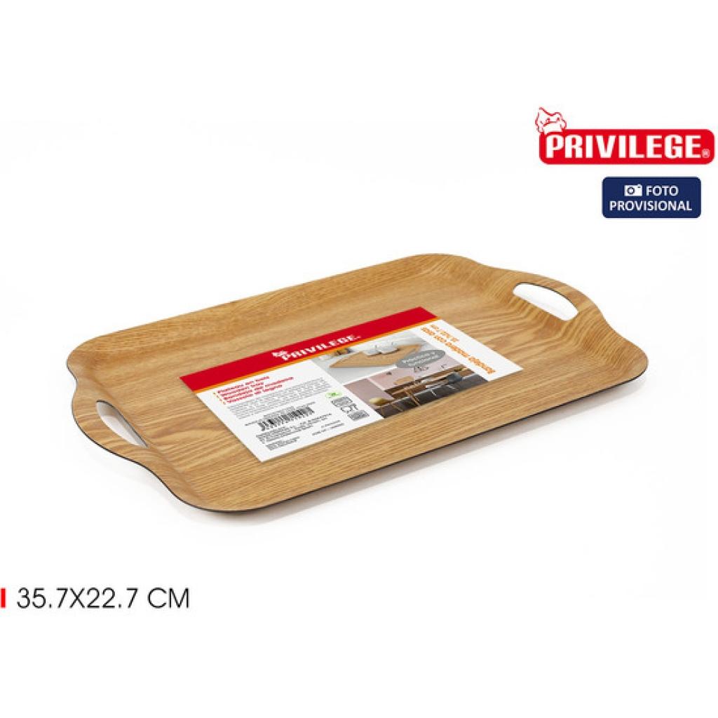 Bandeja madera 35.7x22.7 centímetros asas privilege