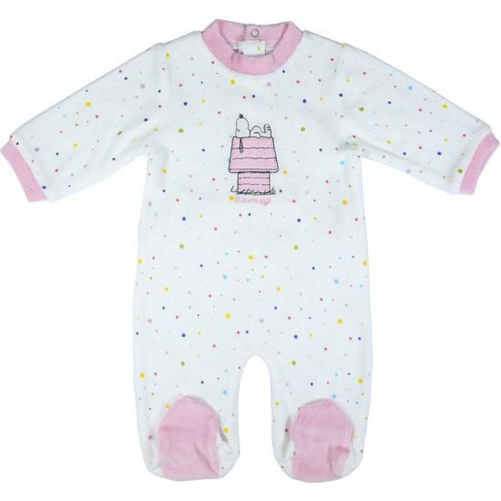 Pelele velour cotton snoopy pink