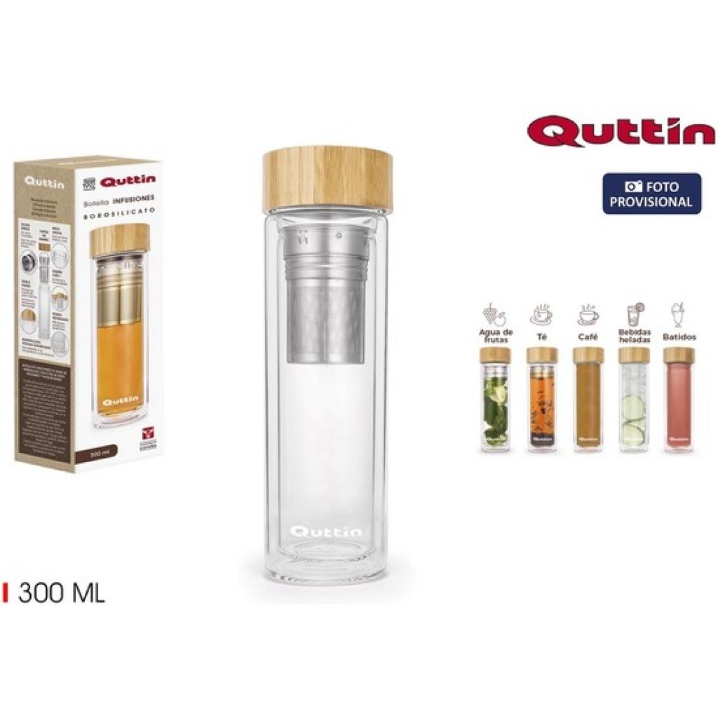 Botella boro infusiones tapa bambu quttin