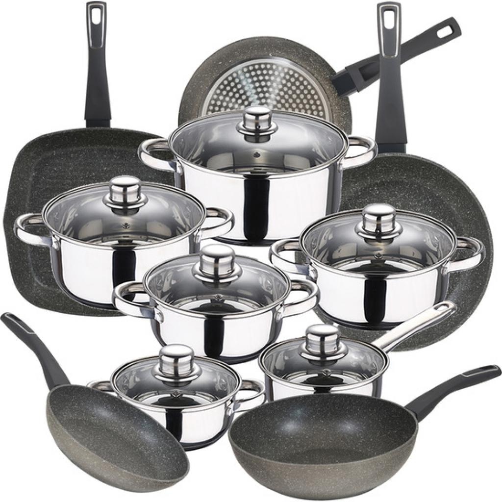 Bateria de cocina 12 piezas san ignacio cassel en acero inoxidable con juego de sartenes (20/24/28 centímetros) y wok 28 centímetros bergner mercury e