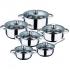 Bateria de cocina 12 piezas san ignacio cassel en acero inoxidable con juego de sartenes (20/24/28 centímetros) san ignacio moma en aluminio forjado
