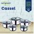 Bateria de cocina 12 piezas san ignacio cassel en acero inoxidable con set de sarten redonda 28 centímetros y grill 28x28 centímetros casa benetton en