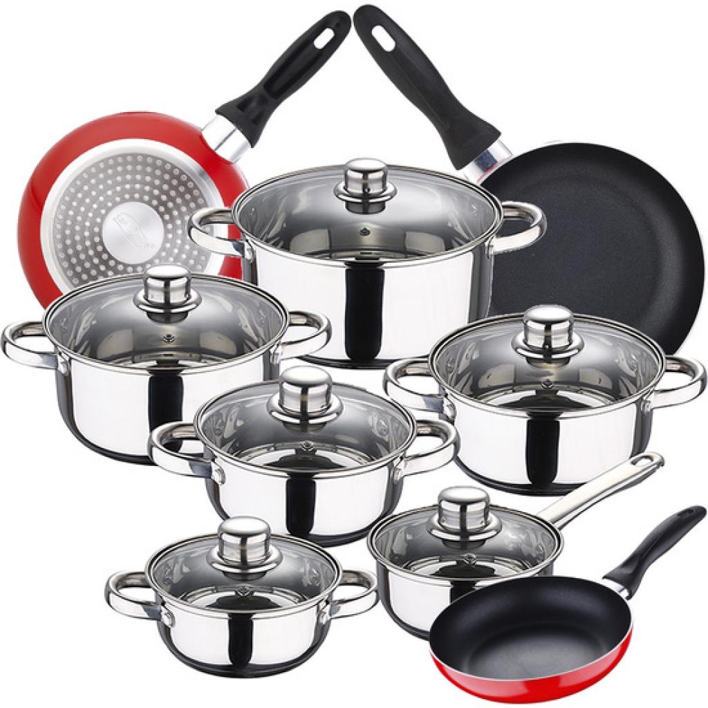 Bateria de cocina 12 piezas san ignacio cassel en acero inoxidable con juego de sartenes (16/20/24 centímetros) san ignacio navy red en aluminio prens