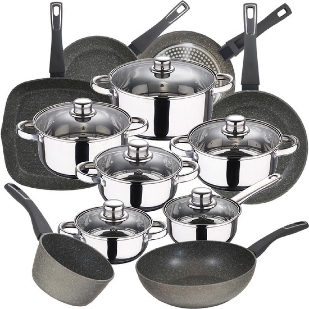 Bateria de cocina 12 piezas san ignacio cassel en acero inoxidable con juego de sartenes (20/24/28 centímetros) sarten wok 28x7.2 centímetros, grill 2