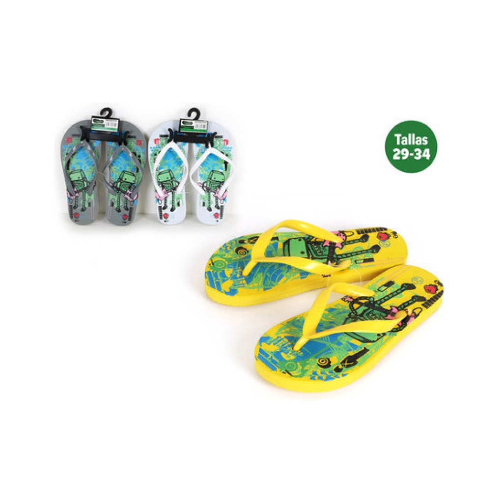 Zapatillas playa niños robot amarillas   talla 31