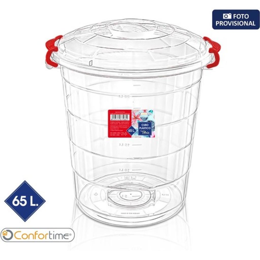 Cubo plástico transparente tetris 65l confortime